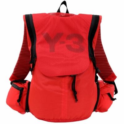 Y-3 網布拼接多功能尼龍後背包(附可拆腰包/紅色)