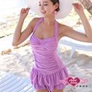 泳衣 稚嫩原色 一件式連身泳裝(紫M.L) AngelHoney天使霓裳