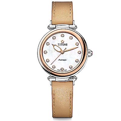 TITONI 梅花錶 炫美時尚之約械錶女錶-玫塊框x珍珠貝x卡其錶帶/33.5mm