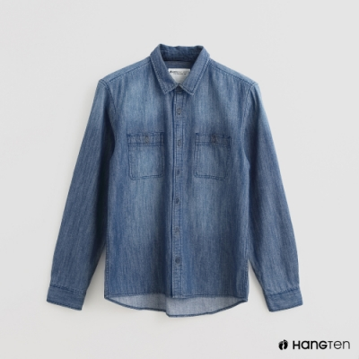 Hang Ten - 男裝 - 自然刷色牛仔襯衫 - 藍