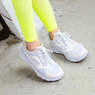 太空羽絨極輕系列~透氣網布拼接皮革銀蔥運動鞋.3色-OB大尺碼