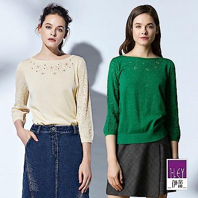 ILEY伊蕾 縷空緹花造型袖圓領金蔥針織上衣(可/綠)