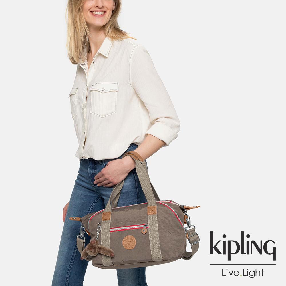 Kipling 簡約卡其撞色拉鍊手提側背包-ART MINI-ESSENTIAL系列