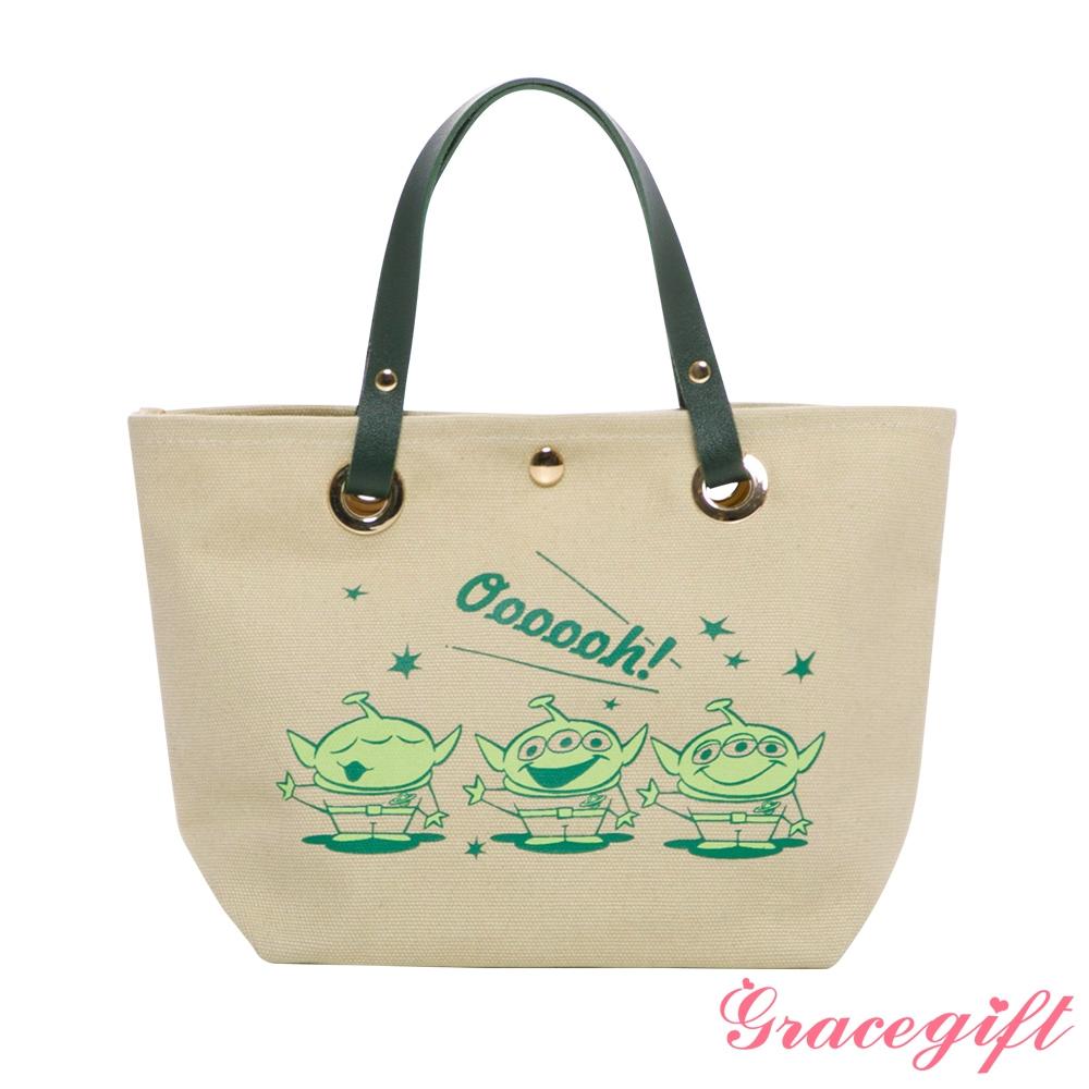 Disney collection by grace gift-玩具總動員三眼怪皮質手提帆布袋 綠