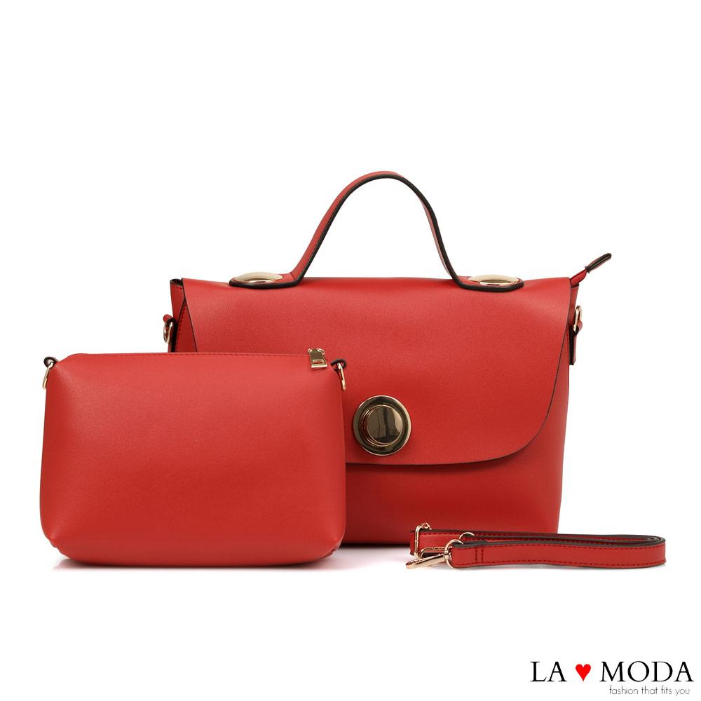 La Moda 質感百搭大容量肩背斜背子母包(紅)