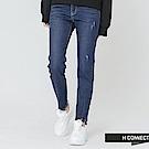 H:CONNECT 韓國品牌 女裝-褲管造型直筒牛仔褲-藍