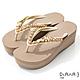 DIANA 6cm 進口波莉水鑽x高密度橡膠夾腳海攤拖鞋-豔夏時尚-米 product thumbnail 1