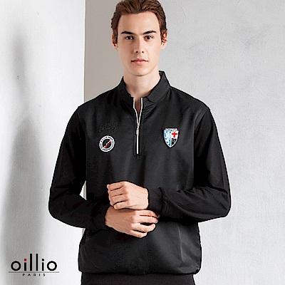 歐洲貴族 oillio 長袖T恤 電繡圖標 立領內側條紋 黑色