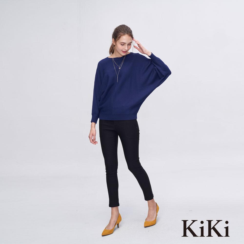KiKi INLook 一字領連袖毛衣(藍)