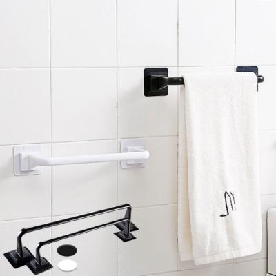 EZlife免打孔廚浴毛巾收納桿4入組(2長+2短)