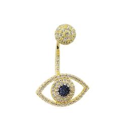 apm MONACO法國精品珠寶 璀璨之眼鍍K金鑲鋯單邊耳針式耳環