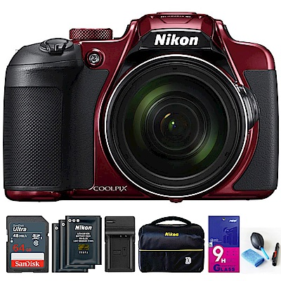 【超值組】Nikon coolpix B700 60倍望遠可翻式螢幕類單機 (公司貨)-紅