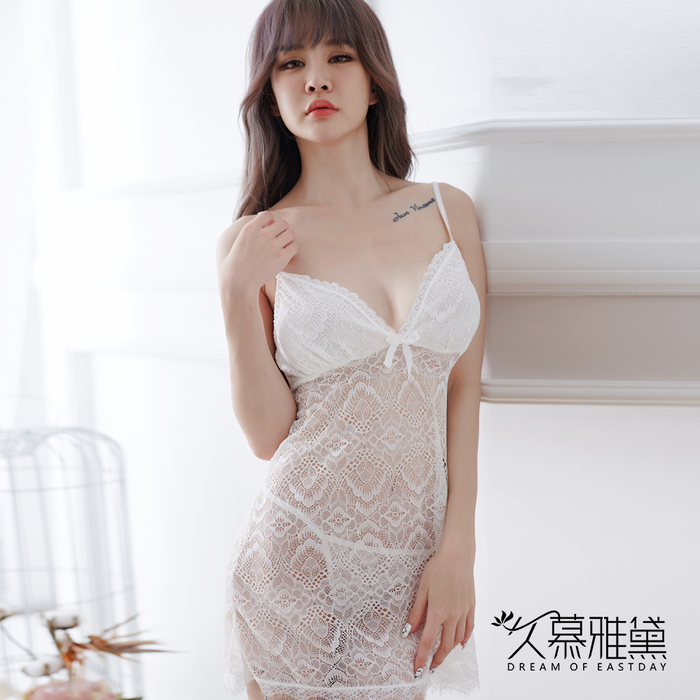性感睡衣 孔雀花紋性感鏤空蕾絲睡裙。白色 久慕雅黛