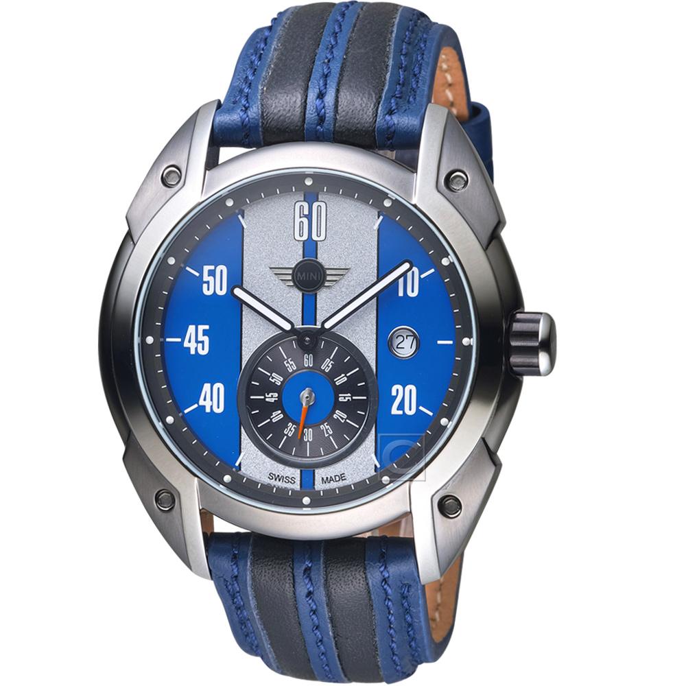 MINI Swiss Watches Cooper復古賽車錶(MINI-160304)-藍