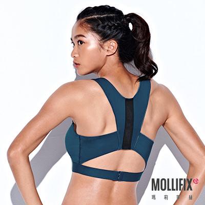 Mollifix 瑪莉菲絲 寬帶挖背緩震運動內衣 (深藍綠)