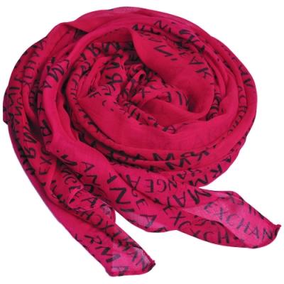 A|X Armani Exchange 品牌字母LOGO圖騰莫代爾纖維圍巾(紫紅)