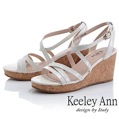 Keeley Ann細條帶 韓系牛皮簡約交叉環繞楔形涼鞋(米白色-Ann系列)
