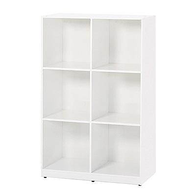 文創集 蘿倫環保2.8尺塑鋼開放式六格書櫃/收納櫃-85x40x132.5cm-免組