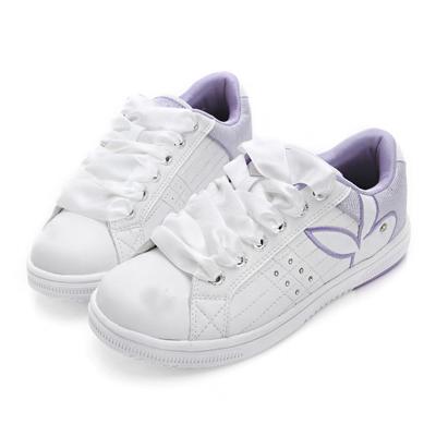 PLAYBOY樂活主張 後跟亮線拼接運動鞋-白