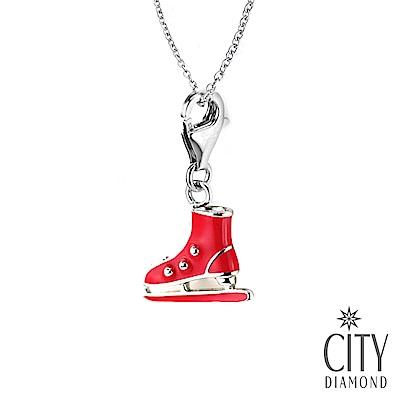 City Diamond引雅【寶寶彌月禮】純銀紅色溜冰鞋手鍊吊飾/項鍊