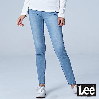 Lee 中腰緊身窄管牛仔褲-水洗藍