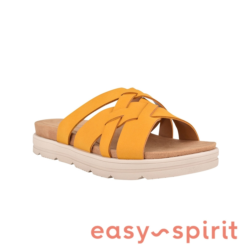Easy Spirit-seSTAR4 編織厚底休閒拖鞋-黃色