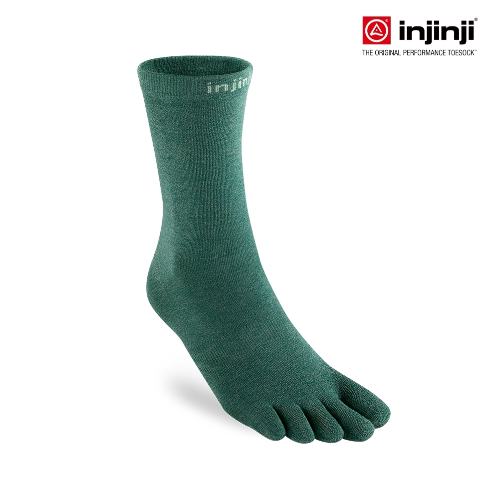 【INJINJI】LINER中筒內襪 [嫩綠] 運動吸排五趾襪 中筒襪 五指襪