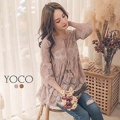 東京著衣-yoco 古典女伶復古簍空蕾絲喇叭袖上衣-S.M.L(共二色)