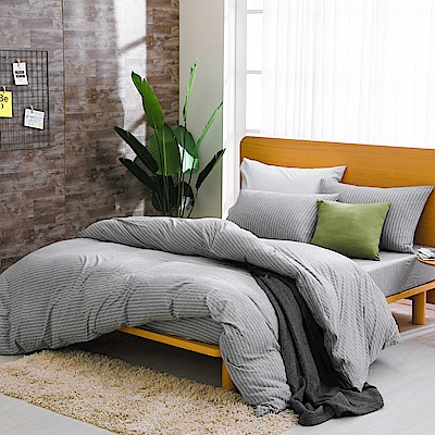 鴻宇 雙人加大床包枕套組 精梳棉針織 淺淺灰M2618