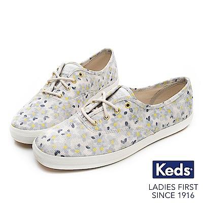 Keds CHAMPION 復古花卉綁帶休閒鞋-藍