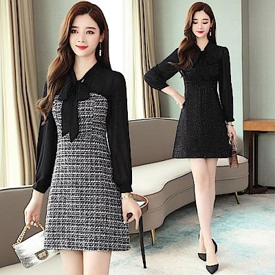 DABI 韓國風蝴蝶結領雪紡拼接千鳥格顯瘦長袖洋裝