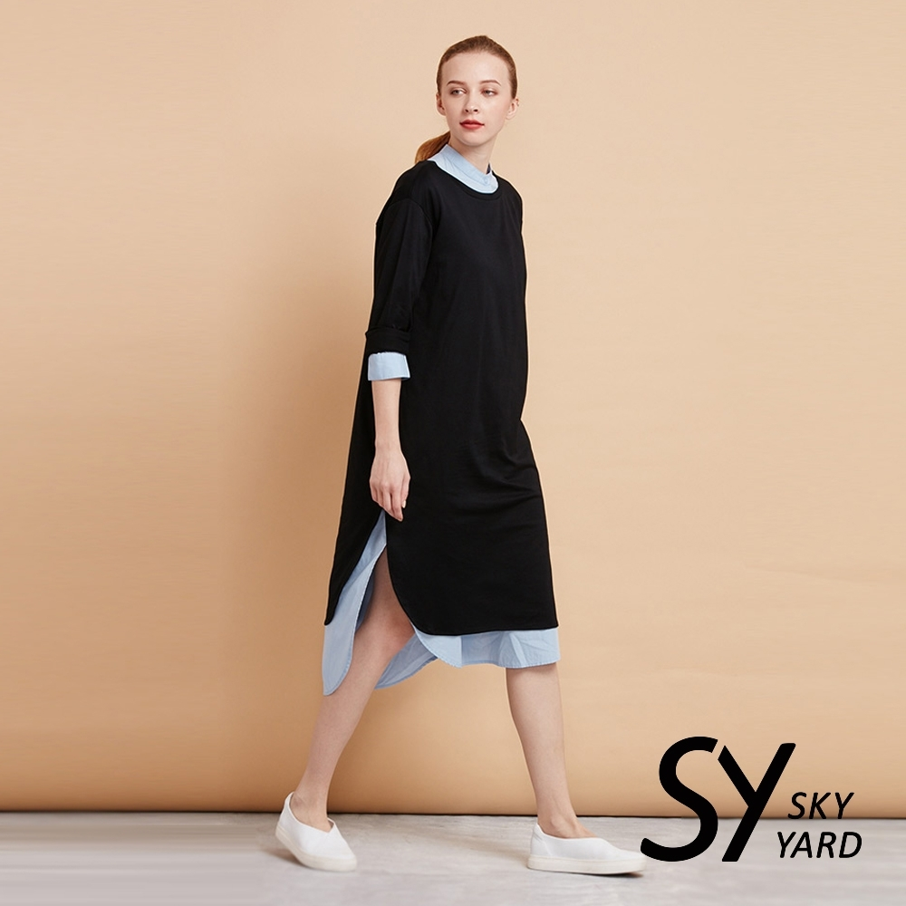 【SKY YARD 天空花園】舒適棉質長袖連身洋裝-黑色