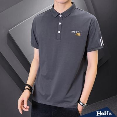 HeHa-袖線條印花短袖POLO衫 三色