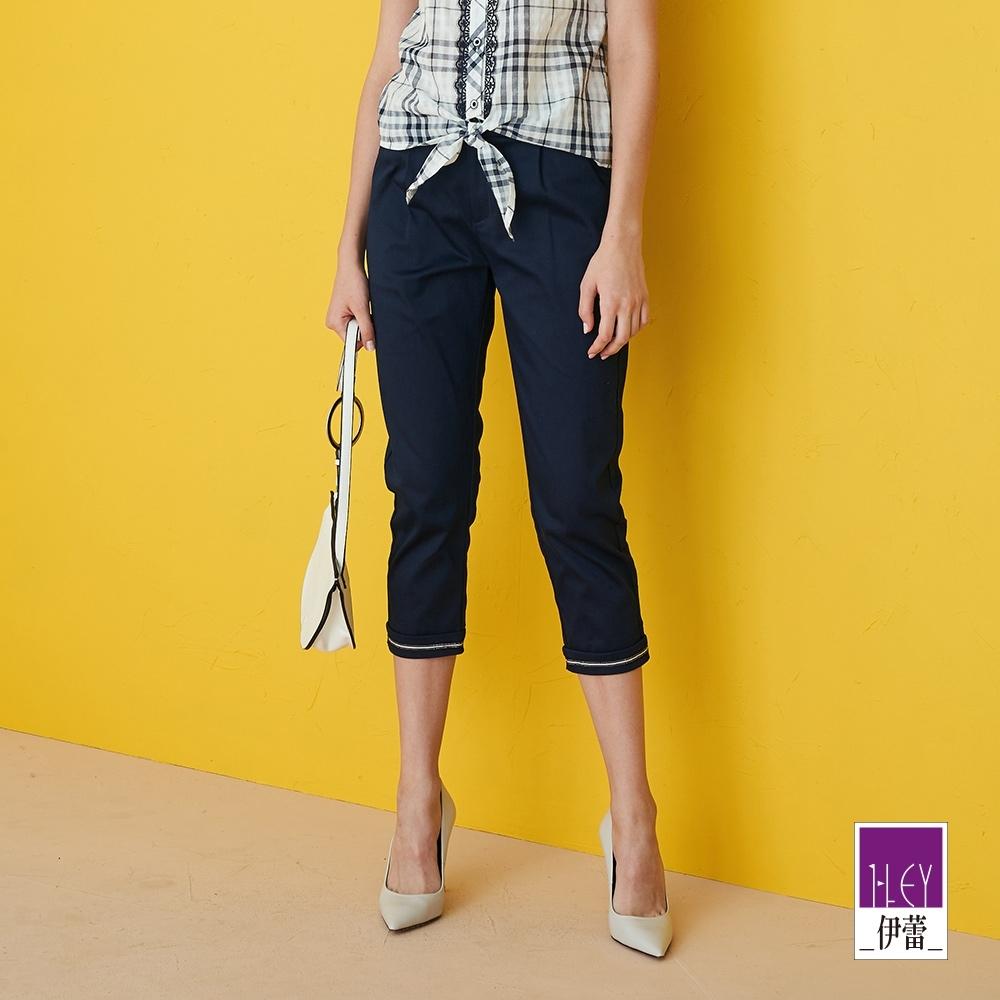 ILEY伊蕾 質感織蔥織帶修身彈性直筒褲(藍)