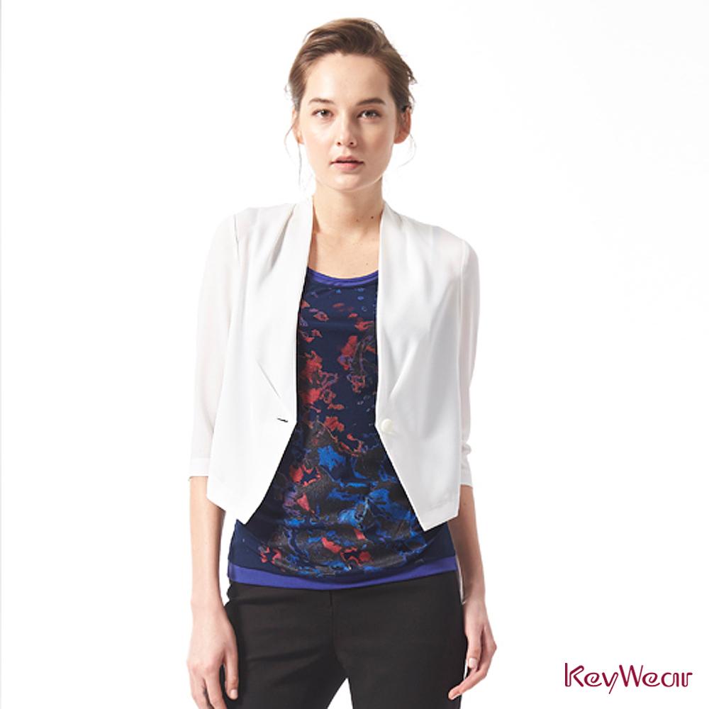 KeyWear奇威名品     時尚商務輕盈修身七分袖外套-白色