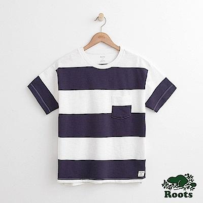 女裝Roots 口袋條紋短袖T恤-藍