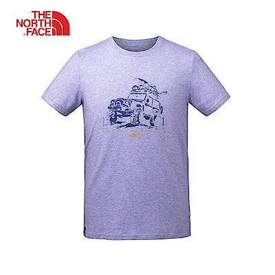 The North Face北面情侶款藍色圓領印花短袖T恤|3LA52LY