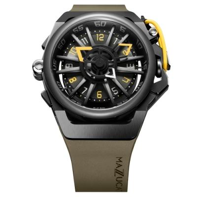MAZZUCATO 義式美學鷗翼式翻轉機械石英雙面手錶(RIM04-GN136)