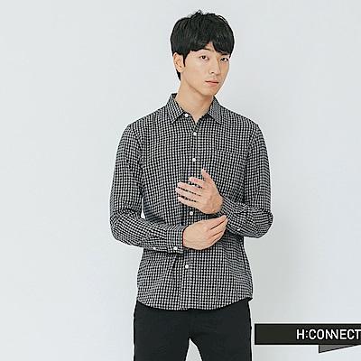 H:CONNECT 韓國品牌 男裝-細格紋單口袋襯衫-藍