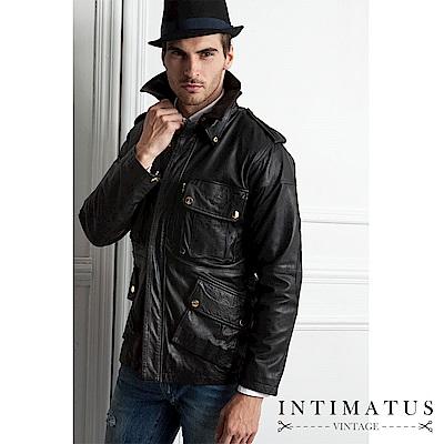 INTIMATUS 真皮 英式尊爵狩獵風格小羊皮皮衣 經典黑