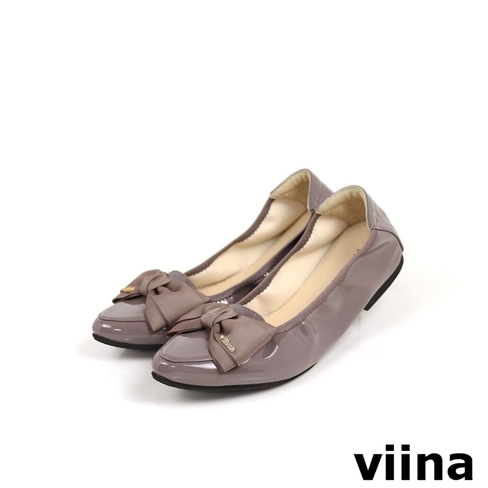 viina 織帶蝴蝶結尖頭摺疊娃娃鞋MIT - 灰紫