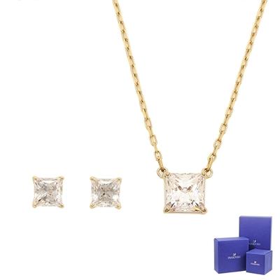 SWAROVSKI 施華洛世奇 Attract璀璨方形水晶金色項鍊+耳環組合