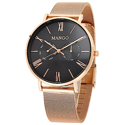 MANGO 完美夏日艷情腕錶-深藍x玫瑰金/38mm(贈皮革錶帶組)