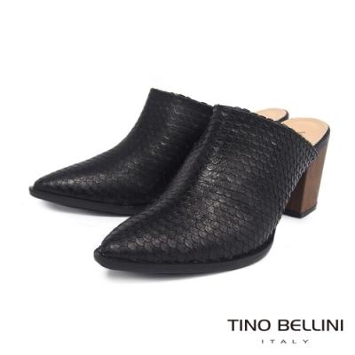 Tino Bellini 巴西進口蛇紋穆勒粗跟鞋 _黑