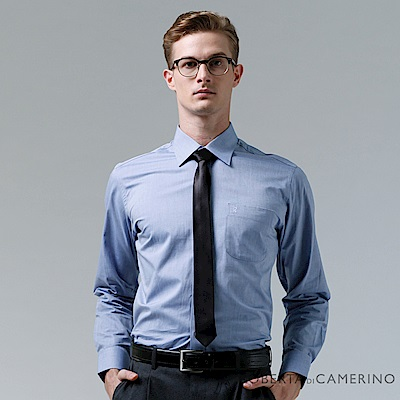 ROBERTA諾貝達 台灣製 合身版 純棉商務紳士長袖襯衫 藍色