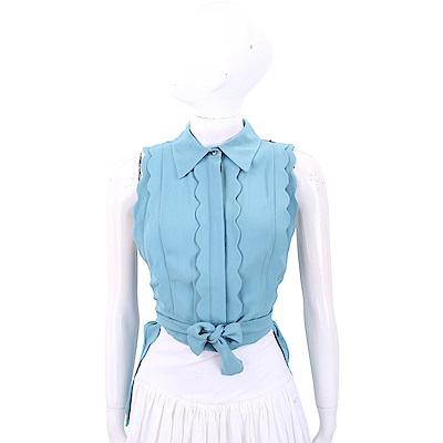 ELISABETTA FRANCHI 花瓣荷葉細節霧水藍綁帶雪紡襯衫