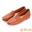 ORIN 復古樂活主義 嚴選牛皮素面方頭樂福鞋-棕色