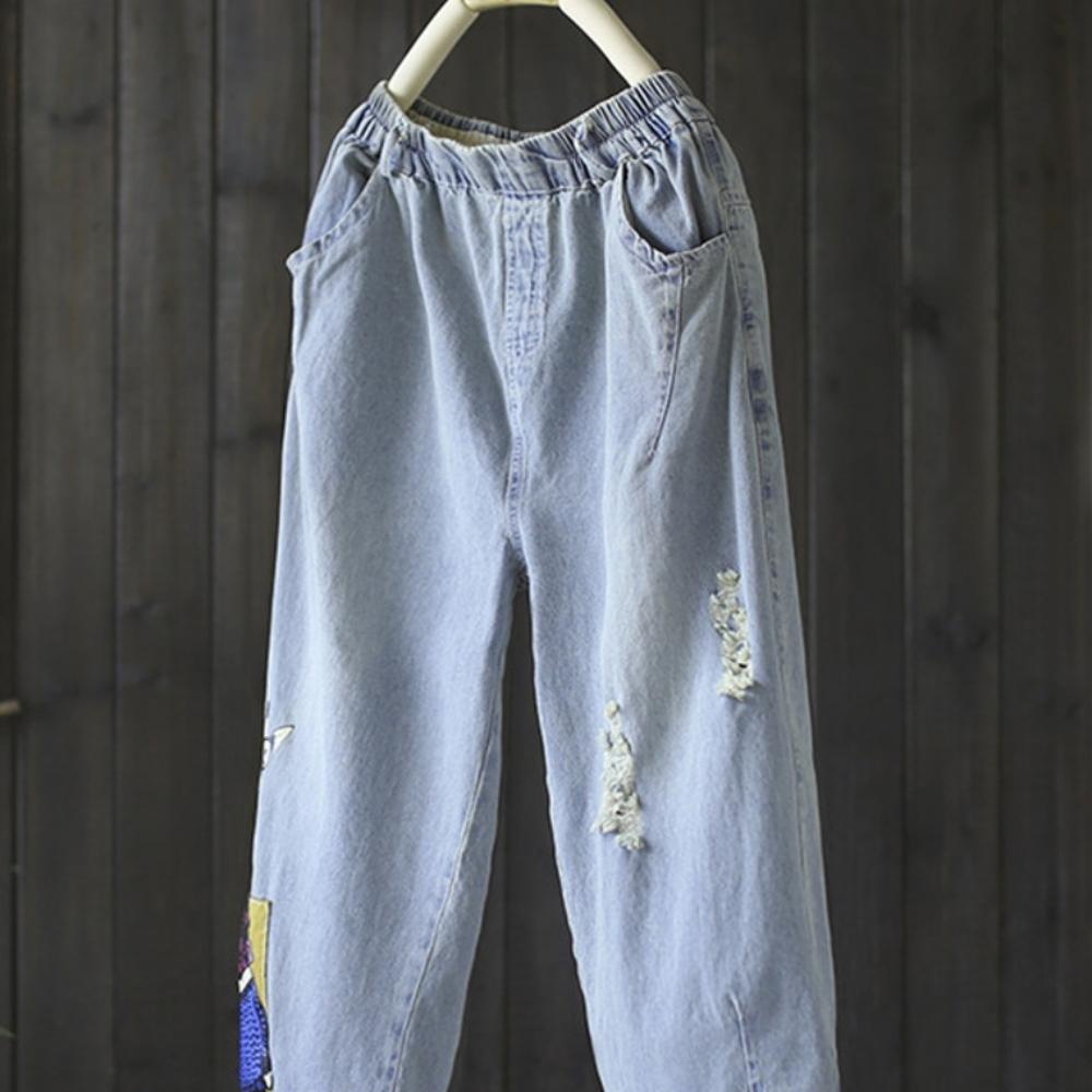 寬松貼布破洞牛仔哈倫七分褲-設計所在