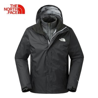 The North Face北面男款黑色防水透氣三合一外套|3CGMJK3