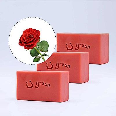 綠優園-天然植萃手工皂潤膚皂-玫瑰草礦泥三入裝